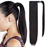 SEIKEA Clip in Ponytail Extension Wrap Around Pony Tail Straight Hair Hairpiece for Kid 16 Inch - Black Brown