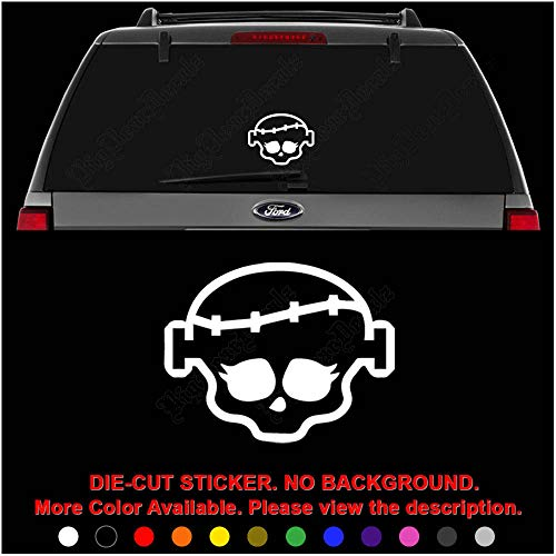 Frankie Monster High Skull Die Cut Vinyl Decal Sticker for Car Truck Motorcycle Vehicle Window Bumper Wall Decor Laptop Helmet Size- [12 inch] / [30 cm] Wide || Color- Gloss Black
