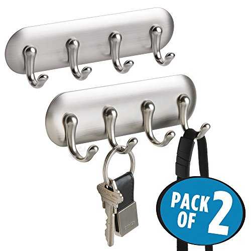 mDesign AFFIXX, Peel and Stick Strong Self-Adhesive Key Storage Rack for Kitchen, Office, Entryway - Pack of 2, 4 Hooks, Brushed Nickel