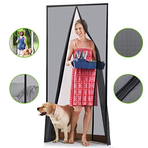 - Homitt [Upgraded Version] Magnetic Screen Door with Durable Fiberglass Mesh Curtain and Full Frame Hook & Loop Fits Door Size up to 36