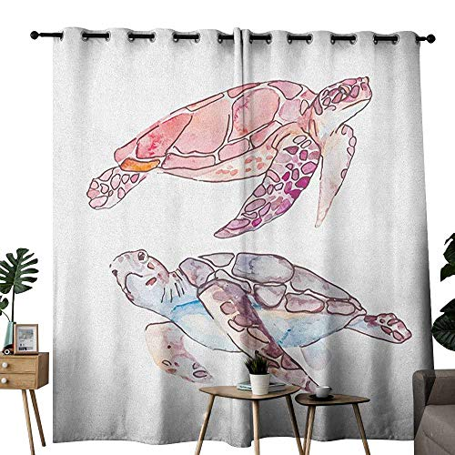 duommhome Turtle Heat Insulation Curtain Hand Painted Watercolor Artwork of Two Turtles Pastel Cute Underwater Theme Suitable for Bedroom Living Room Study, etc.W108 x L96 Pink Fuchsia Purple