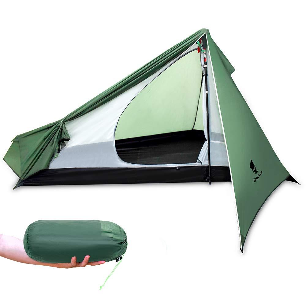 GEERTOP(ギアトップ) 20D超軽量 テント 1人用 ソロ 3シーズン ツーリング バックパッキング キャンプ ハイキング トレッキング 登山用 (トレッキングポールは付属しません)