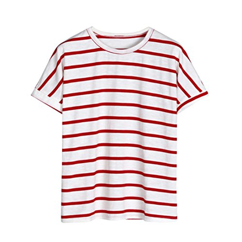 HUYB 夏 女性 Tシャツ ストライプンプリント ストライプ tしゃつ 半袖ブラウス  トップス  薄いセクション ラウンドネック かっこいいtシャツ 運動 通学 日常用 学生 高校生  黒色赤色 涼しい なつ  トップス レディーズ