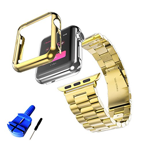 HUANLONG Compatible with Apple Watch Band, Solid Stainless Steel Metal Strap Band w/Adapter+Case Cover for Apple Watch iWatch 38mm (H Gold 38mm)