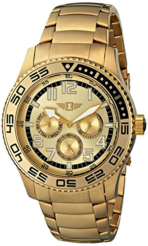 18k Gold Plated Case - I By Invicta Men's 43658-005 Gold Dial 18k Gold-Plated Stainless Steel Watch