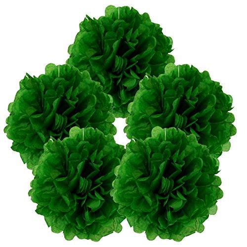 Just-Artifacts-5pcs-8-Kelly-Green-Tissue-Paper-Pom-Pom-Flower-Ball