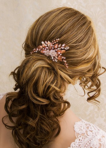 Kercisbeauty Wedding Rose Gold Hair Comb with Pink Pearl Earrings Set for Bride Bridesmaid Headpiece Prom Hair Accessory(Rose Gold)