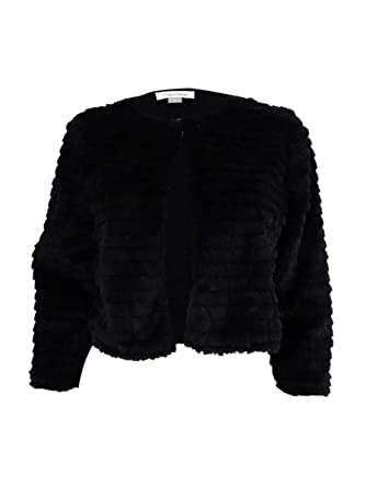 d96ac252a323 Amazon.com  Calvin Klein Womens Faux Fur Collarless Cropped Jacket  Clothing