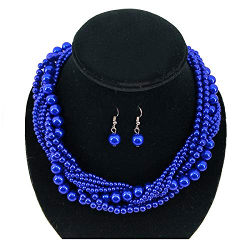 Utop Simulated Pearl Strand Necklace Pearl Bead Chokers for Women (Royal Blue)