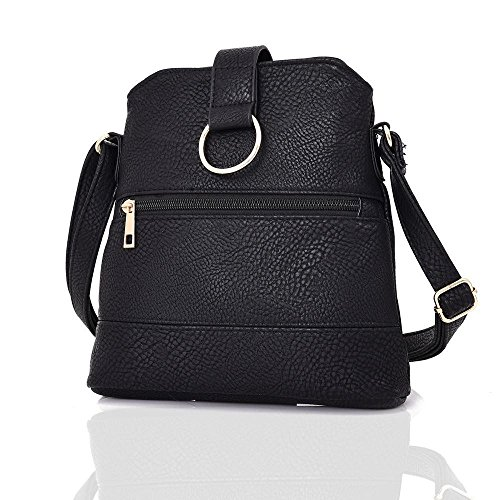Soft Black Messenger Ladies Leather Handbag Crossbody Bag Fashion Look RRrdTqxw