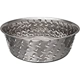 Loving Pets Diamond Plated Dog Bowl with Non-Skid Bottom, 5-Quart