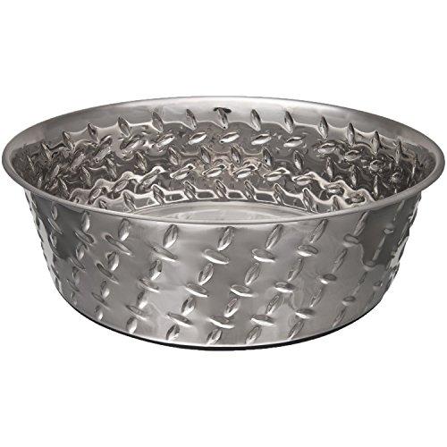 Loving Pets Diamond Plated Dog Bowl with Non-Skid Bottom, 5-Quart