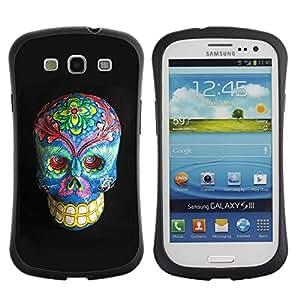 Paccase / Suave TPU GEL Caso Carcasa de Protección Funda para - Floral Death Skull Grey Blue Bones - Samsung Galaxy S3 I9300
