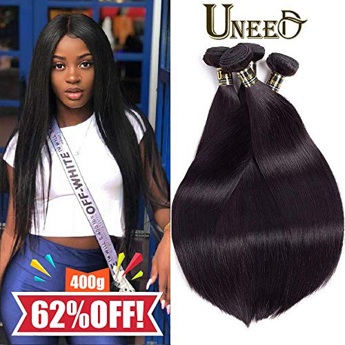 Uneed Hair 8A Brazilian Hair Bundles Straight (16 18 20 22,400gram)Brazilian Virgin Hair Bundles Unprocessed Virgin Brazilian Hair Weave Bundles Natural Black