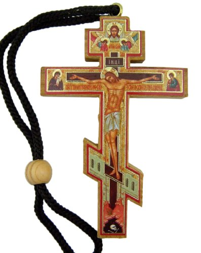 (Authentic Russian Orthodox Cross Wood Crucifix with Slavic Prayer Icon on Rope Cord)