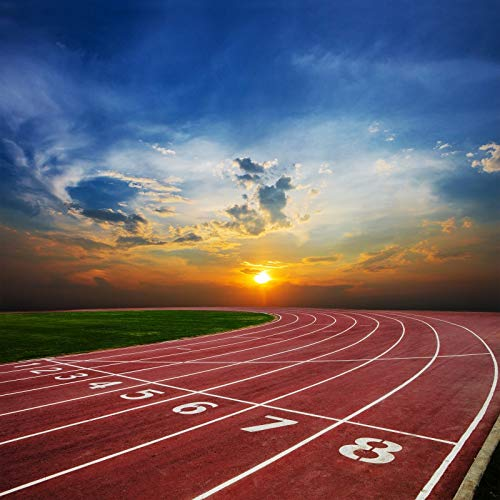 Baocicco 8x8ft Running Track Backdrop Vinyl Photography Background Red Runway Grass Field Green Grass Athletics Match Starting Line Sunrise Children Kids Portrait Photo Studio