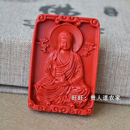 - usongs Natural cinnabar Heart Sutra carved Buddha necklace pendant men and women board natal Buddha necklace pendant jewelry sweater chain prayer beads accessories