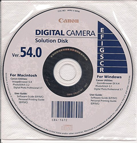 Canon Digital Camera Solution Disk Ver. 54.0 Digital Camera Solution Cd Rom