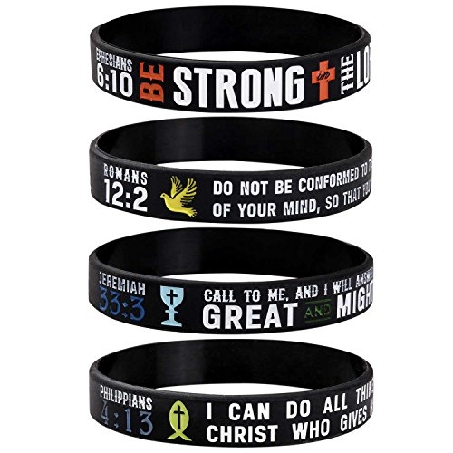 Sainstone Power of Faith Christian Bible Verse Silicone Bracelets - Religious Rubber Wristbands with Christian Symbols (Cross, Grail, Fish, Dove) and Scriptures Holiday Jewelry Gifts