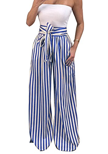 Jeanewpole1 Women Striped Tie Front Pants High Waisted Wide Leg Palazzo Harem Casual Trousers