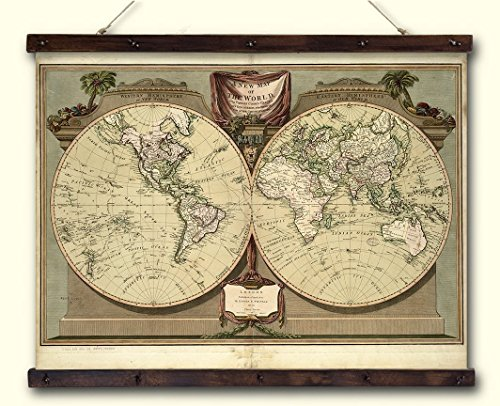 Old Historical Map Print on Canvas, Map of the World Canvas Wall Decor with Wooden Slats, Aged Canvas Map Print, Pull down World Map. Size: 27,6x20,1 in (70x51 cm.)