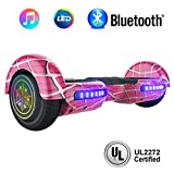 NHT 6.5' inch Aurora Hoverboard Self Balancing Scooter with Colorful LED Wheels and Lights - UL2272 Certified Carbon Fiber/Spider/Built-in Bluetooth Speaker Available (Spider Pink)