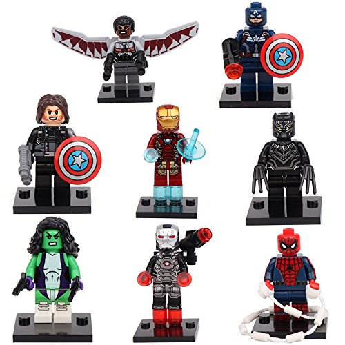 [JSM Captain America Civil War Iron Man Falcon 8 Minifigures Building Bricks toy lEGO] (The Avengers 2 Scarlet Witch Costume)