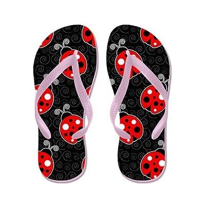 JKYUKO Ladybug Red Black flip Flops