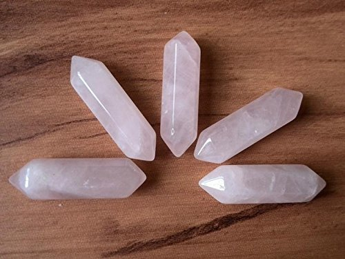 Double Terminated Point (Bolin - Natural Rose Crystal Point Hexagon , Pink Quartz Faceted Point, Double Terminated Wand Stick ,8mm * 30mm No Hole - 5 Pieces)