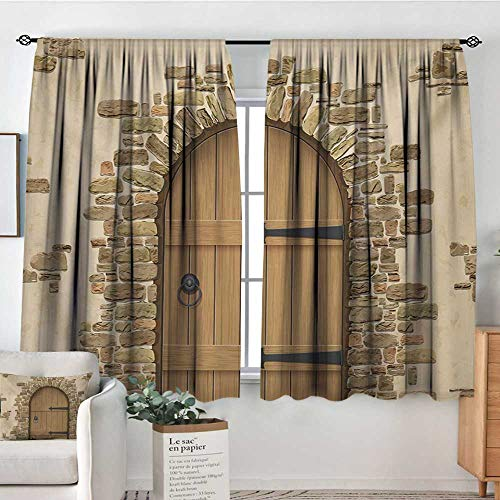 (Mozenou Rustic Thermal Insulating Blackout Curtain Wine Cellar Entrance Stone Arch Ancient Architecture European Building Kid Blackout Curtains 72