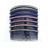 Casualfashion Women 24 Teeth Hair Comb Pin Clip Double Rows Rhinestone Hair Side Combs 472 Length 5 Count
