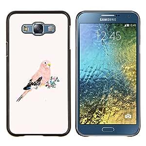 Stuss Case / Funda Carcasa protectora - Loro plumas rosa melocotón Pájaro Florales - Samsung Galaxy E7 E700