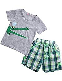 Conjunto de ropa de verano para bebés: camisa y pantalón corto con dibujo de cocodrilo.