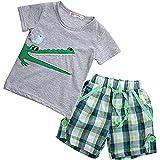 Boy Kids Crocodile Print Short Sleeve T-shirt and Lattice Shorts Outfit (3 (2-3Y))