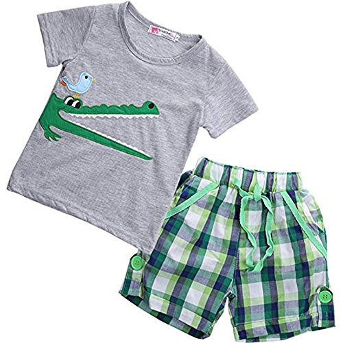 Price comparison product image Boy Kids Crocodile Print Short Sleeve T-shirt and Lattice Shorts Outfit(2 (1-2Y))