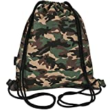 Peicees Canvas Drawstring Backpack with Zipper Pocket Gymsack Drawstring Bag Sport Sackpack Travel School Backpack for Men Women Boys and Girls(Camo)