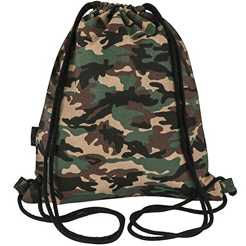 Peicees Canvas Drawstring Backpack with Zipper Pocket Gymsack Drawstring Bag Sport Sackpack Travel School Backpack for Men Women Boys and Girls(Camo) by Peicees (Image #8)