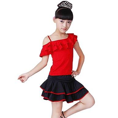 XFentech Salón De Baile Vestido Sin Mangas Falda De Baile Latino ...