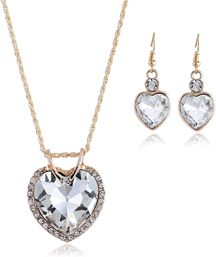Yazilind Frauen Haken Ohrringe Halskette Sets Gold /Überzogene Herz Cut Anh/änger Strass Retro Hochzeit Schmuck