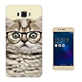 000040 - Cool Geek Kitten Cat Reading Sunglasses Funny Design Asus Zenfone 3 Laser ZC551KL Fashion Trend CASE Gel Rubber Silicone All Edges Protection Case Cover