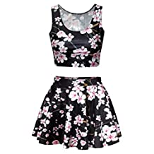 Uideazone Womens Print Crop Tank Top Skater Skirt 2 Pieces Set Dress