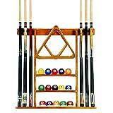 Iszy Billiards 6 Pool Cue, Billiard Stick Wall Rack Made of Wood, Oak Finish