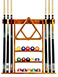 6-Pool-Cue-Billiard-Stick-Wall-Rack-Made-of-Wood-Choose-Mahogany-Black-or-Oak