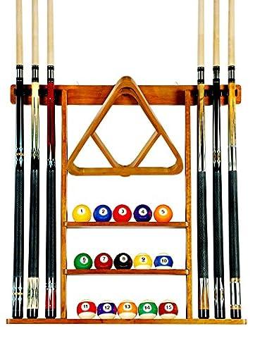 6 Pool Cue - Billiard Stick Wall Rack Made of Wood, Oak Finish - Pool Cue Set
