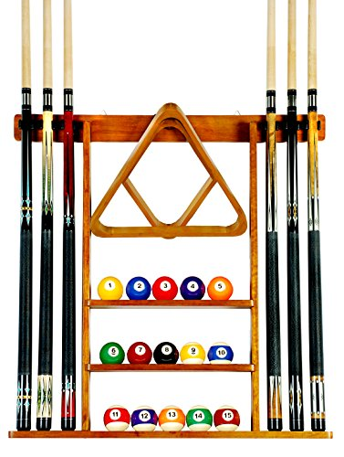 Iszy Billiards Cue Rack Only - 6 Pool Cue - Billiard Stick Wall Rack Made of Wood Oak Finish