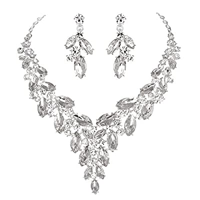 Modbridal Formal/Ball/Prom/Cocktail/Evening/Event Party Rhinestone Necklace and Earrings Jewelry Sets for Wedding Dress