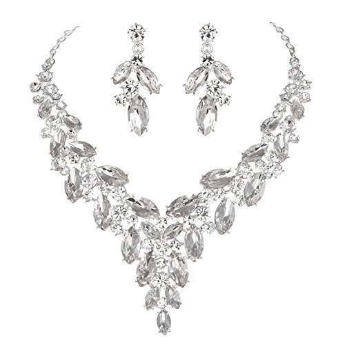 (Modbridal Formal/Ball/Prom/Cocktail/Evening/Event Party Rhinestone Necklace Earrings Jewelry Sets Wedding Dress (Clear))