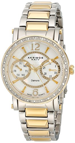 Watch Diamonds 20 Womens (Akribos XXIV Women's AKR472YG Lady Diamond Collection Diamond Swiss Day and Date Watch)
