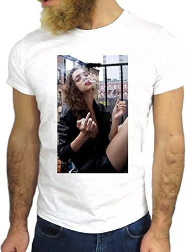 T SHIRT JODE Z1500 GIRL WOMAN SMOKE AMERICA SEXY CITY FUN COOL FASHION NICE GGG24 BIANCA - WHITE XL