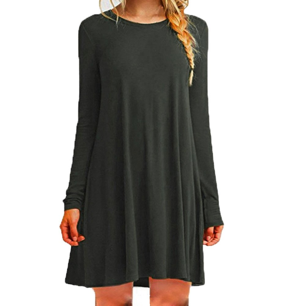 iLUGU O-Neck Long Sleeve Mini Dress for Women Solid Color Long Blouse Short Dress Darkgray